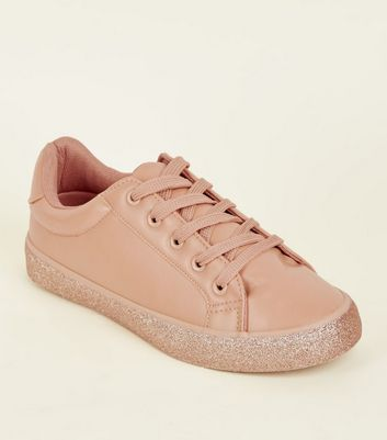 Girls Mid Pink Glitter Sole Trainers