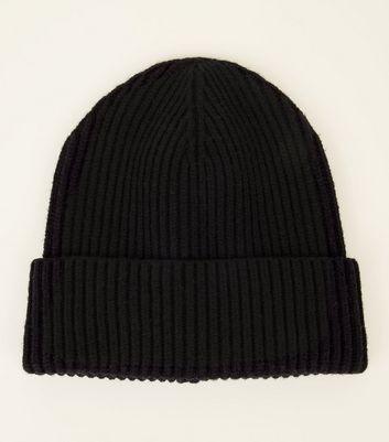 Black Ribbed Beanie Hat  09d9ee69187
