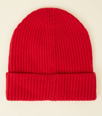 Red Ribbed Beanie Hat