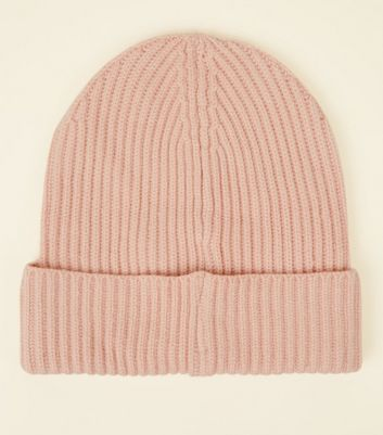 Pink Ribbed Beanie Hat