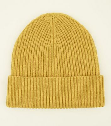 Yellow Ribbed Beanie Hat