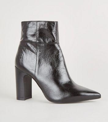 Black Premium Leather Block Heel Boots
