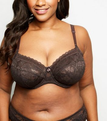 Curves Dark Brown Lace Underwired Bra