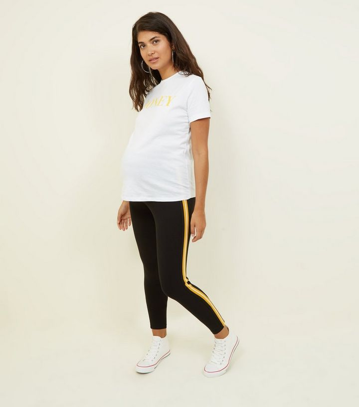 50b8905d25cdf5 Maternity Black and Mustard Side Stripe Leggings | New Look