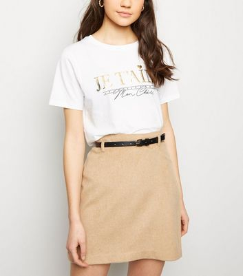Camel Belted Brushed Twill A-Line Skirt