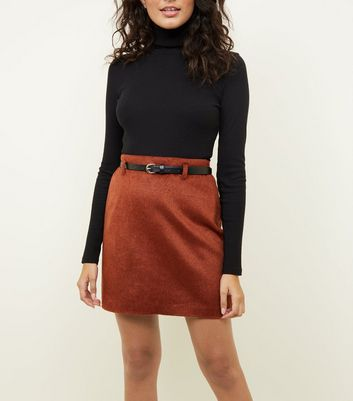 Rust Belted Brushed Twill A-Line Skirt
