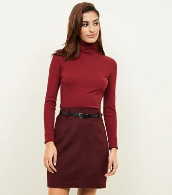 Burgundy Belted Brushed Twill A-Line Skirt