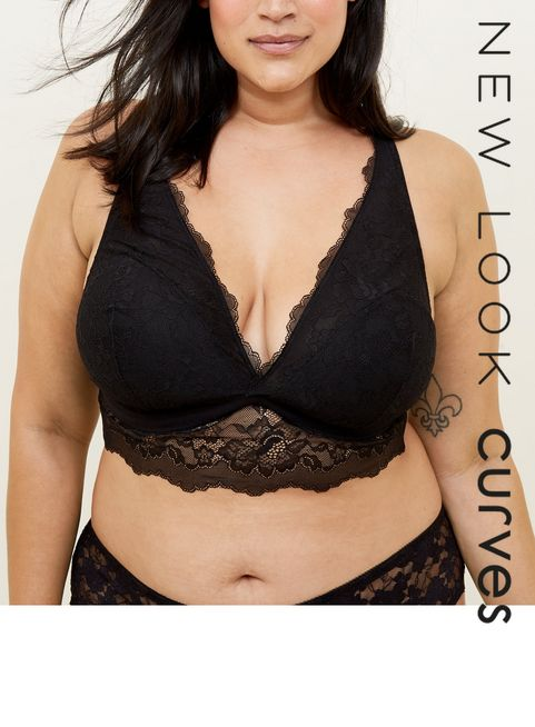 005434dad06 ... Curves Black Lace Longline Bralette ...