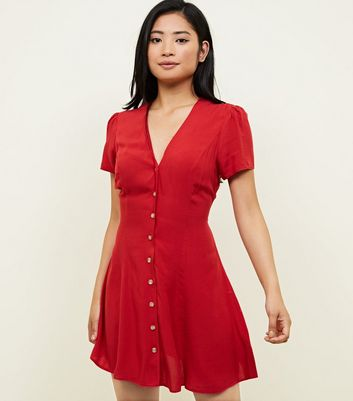 Petite Red Through Tea Dress