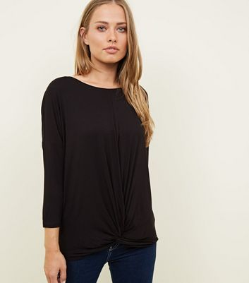 Black Twist Front Longline T-Shirt