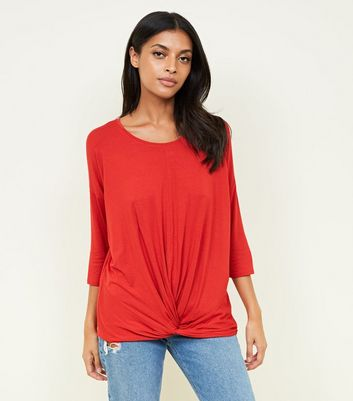 Red Twist Front Longline T-Shirt