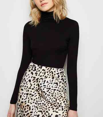 Black Roll Neck Top