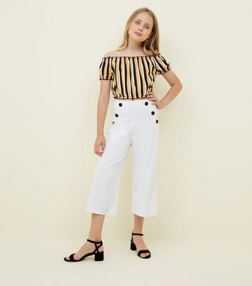 Girls White Button Front Culottes
