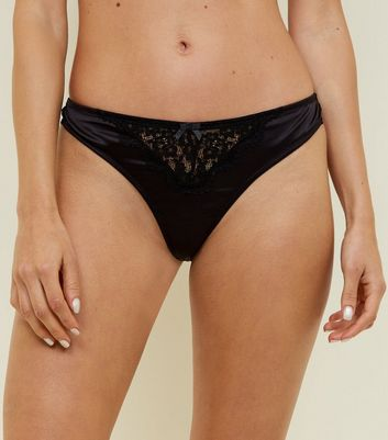Black Satin Lace Trim Thong