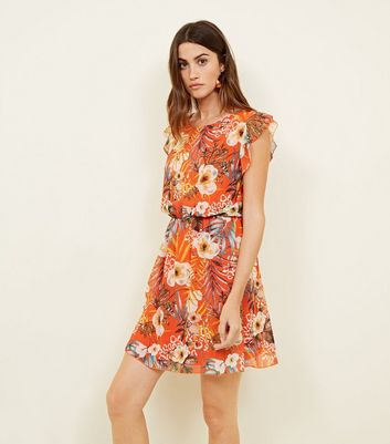Orange Tropical Dress