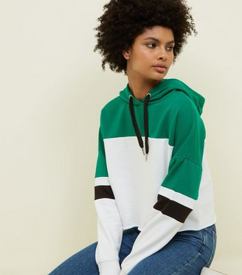 Green Colour Block Cropped Hoodie