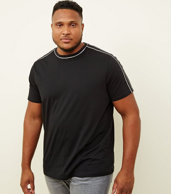 d905502a1 Plus Size Black Tipped Tape Shoulder T-Shirt | New Look