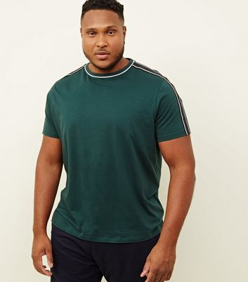 Plus Size Black Tipped Tape Shoulder T-Shirt