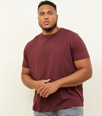 Plus Size Burgundy Crew Neck T-Shirt