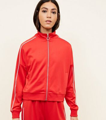 Red High Shine Piped Side Track Top