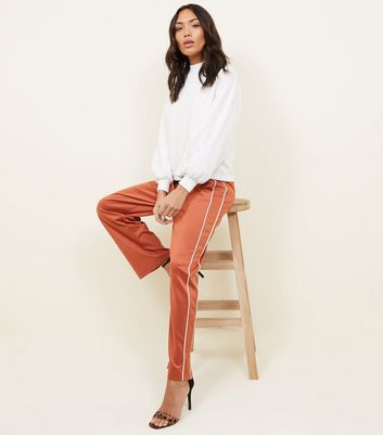 Light Brown Satin Piped Side Wide Leg Joggers