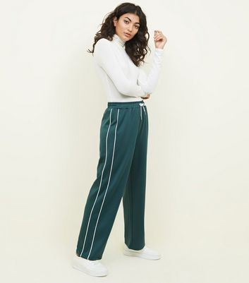 Green Satin Piped Side Wide Leg Joggers