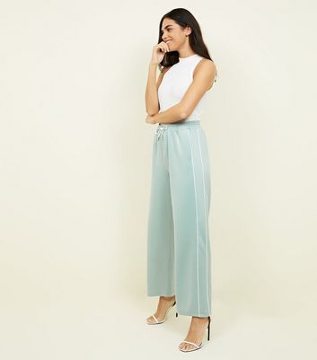 Pale Blue Satin Piped Side Wide Leg Joggers