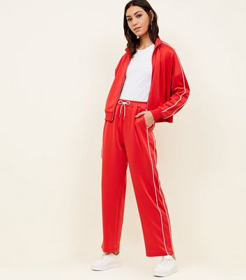 Red High Shine Piped Wide Leg Joggers