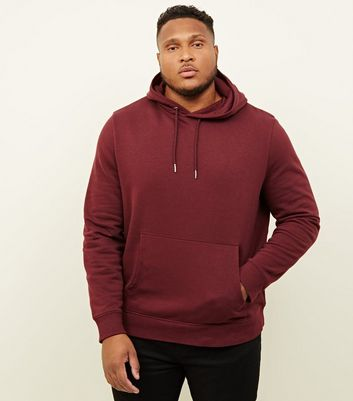 Plus Size Burgundy Pocket Front Hoodie