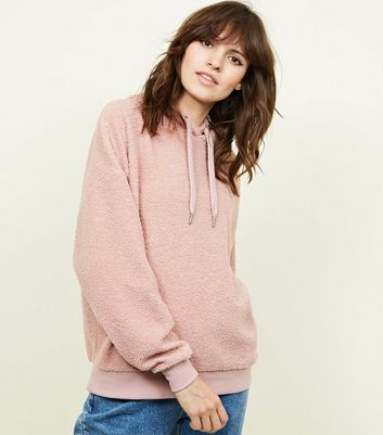 Pale Pink Borg Oversized Hoodie