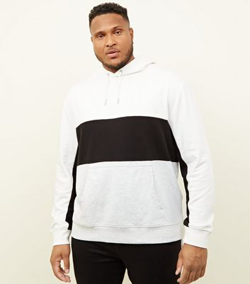 Plus Size Off White Colour Block Pocket Front Hoodie