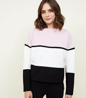 Pale Pink Colour Block Jumper