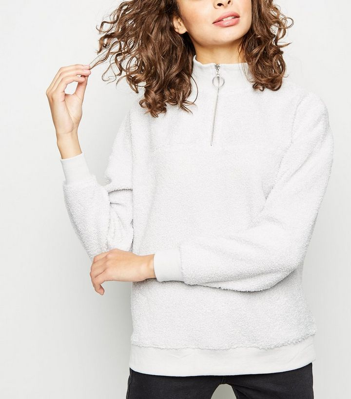 f717f9f2 Pale Grey Borg Ring Zip Up Funnel Neck Sweatshirt | New Look