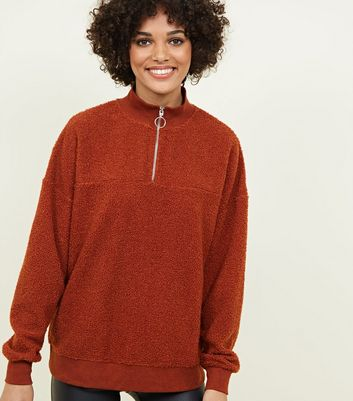 Rust Borg Ring Zip Up Funnel Neck Sweatshirt