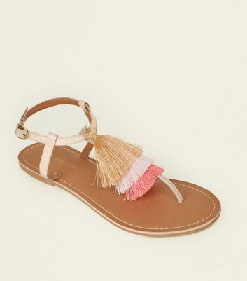 Wide Fit Multi-Colour Leather Tassel Flat Sandals
