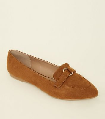 Wide Fit Tan Suedette Ring Strap Pointed Loafers