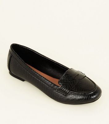 Wide Fit Black Faux Snakeskin Penny Loafers