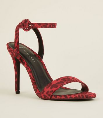 Wide Fit Red Suedette Leopard Print Stiletto Sandals