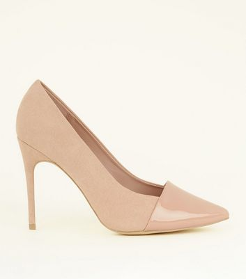 Wide Fit Nude Suedette Contrast Toe Pointed Courts