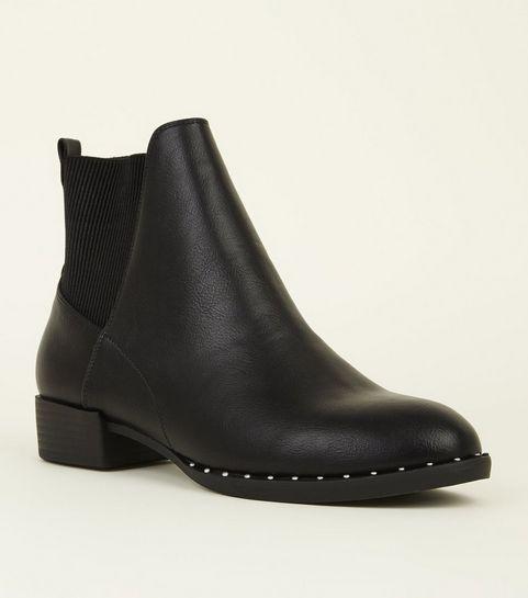 826de2b748d5 ... Black Stud Trim Chelsea Boots ...