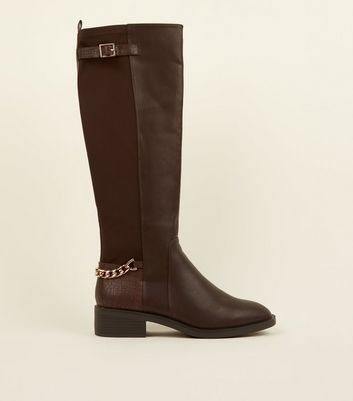 Brown Leather-Look Chain Strap Knee High Boots