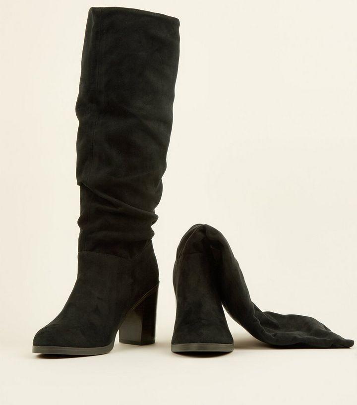 7845175af78 ... Black Block Heel Knee High Slouch Boots. ×. ×. ×. Shop the look