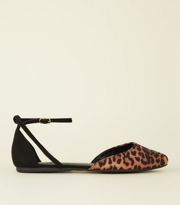 Wide Fit Black Leopard Print Suedette Ballet Pumps Add to Saved Items Remove from Saved Items
