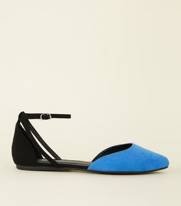 Wide Fit Blue Two Tone Pointed Ballet Pumps