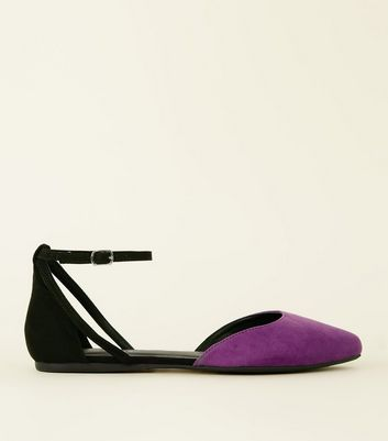 Wide Fit Purple Two Tone Pointed Ballet Pumps