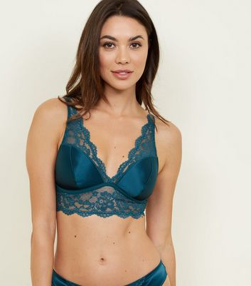 Dark Green Satin Lace Soft Padded Bralette
