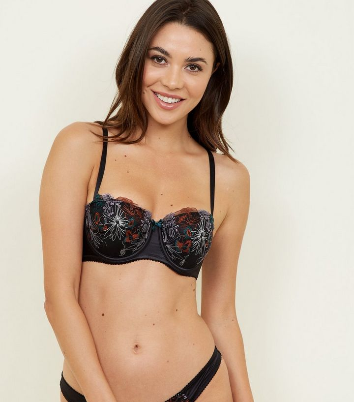 5c08acce00c Black Floral Embroidered Balcony Bra