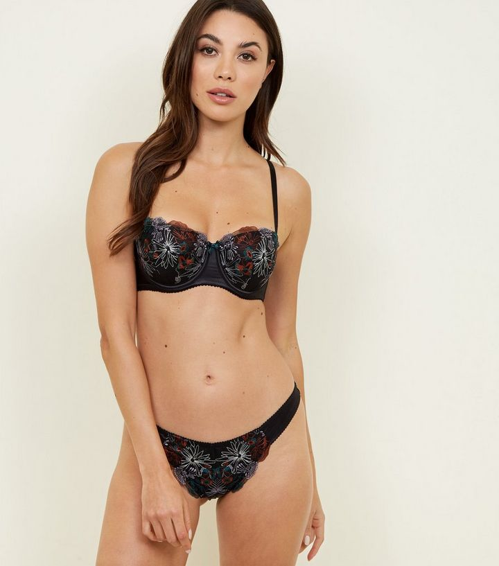 637aba2a943 ... Black Floral Embroidered Balcony Bra. ×. ×. ×. 1