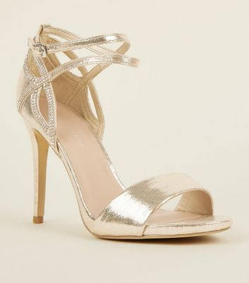 Wide Fit Gold Shimmer Diamanté Embellished Stilettos