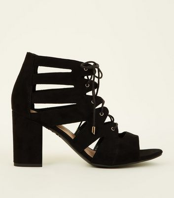 Wide Fit Black Suedette Lace Up Ghillie Block Heels